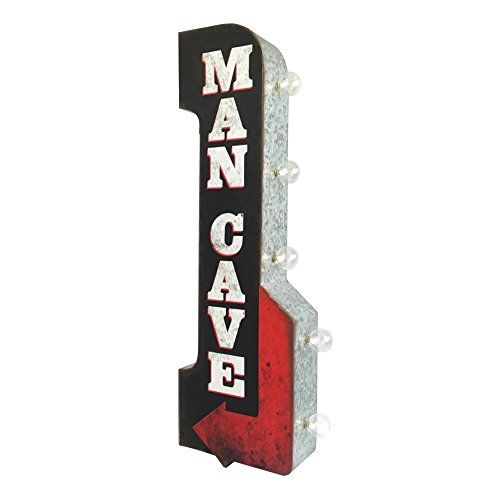 """Sign of the TImes LED Lighted Man Cave Arrow Sign, Two Sided Metal With Distressed Finish 11"""" x 30"""" Sign Reads """"Man Cave"""" And Has An Arrow As Part Of The Design Larger Sign, 30"""" In Length - 30"""" x 11"""" x 3"""" and over 2 Pounds, Made Of Tin Metal Illuminated By Battery Powered LED Lights (bulbs and an extra replacement bulb are included). LED Technology Means A Longer Lasting Light Bulb, Requires 2 AA Batteries (batteries not included) https://homeandgarden.boutiquecloset.com/prod"""