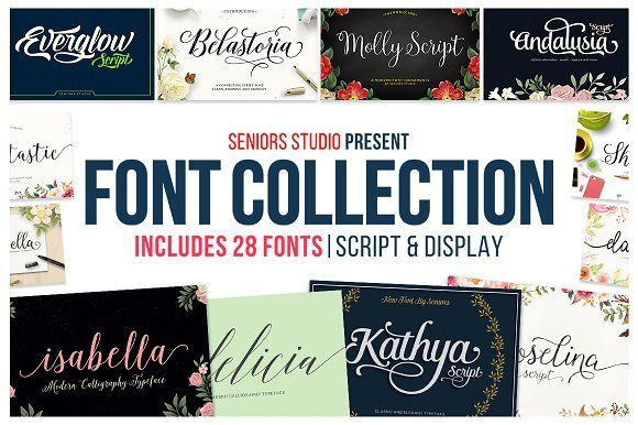 Font Collection | 28 Fonts by Seniors on @creativemarket