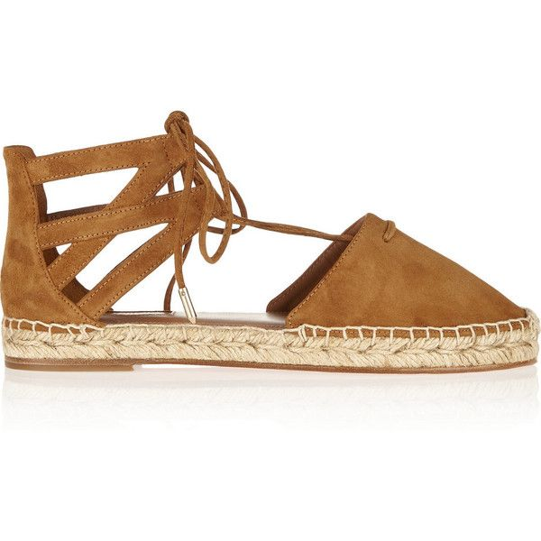 Aquazzura Belgravia suede espadrilles ($455) ❤ liked on Polyvore featuring shoes, sandals, brown, cut out sandals, lace up sandals, laced sandals, brown suede shoes and lace up shoes
