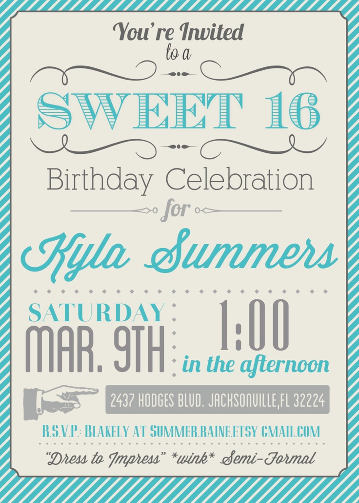 Free Custom Printable Sweet 16 Invitation – orderecigsjuice.info