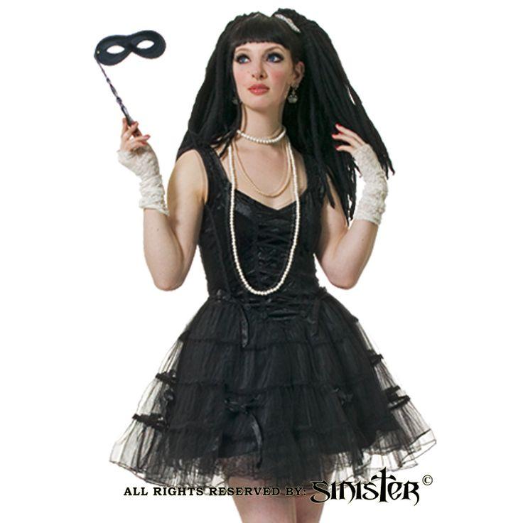 Black velvet and tulle minidress by Sinister (448) www.sinister.nl