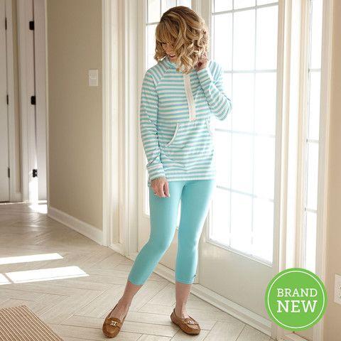 Ladies Tiffany Aqua Capri Leggings