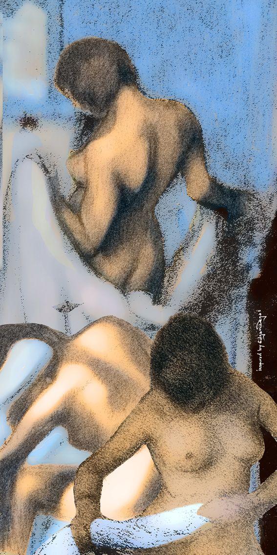 Composition of Degas' bathing women