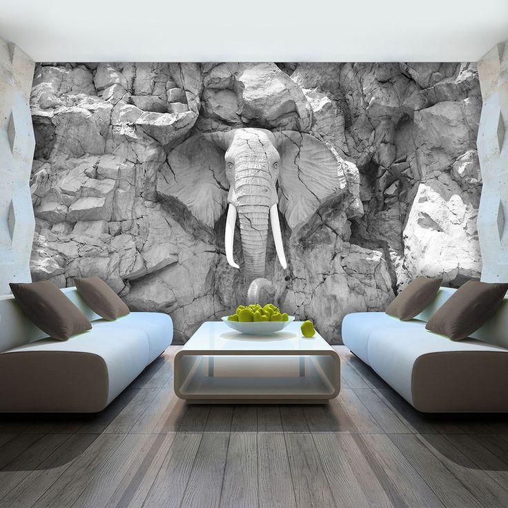 details zu vlies fototapete tapete foto bild elefant grau wand stein skulptur 10116 ve - Tapete Grau Wohnzimmer