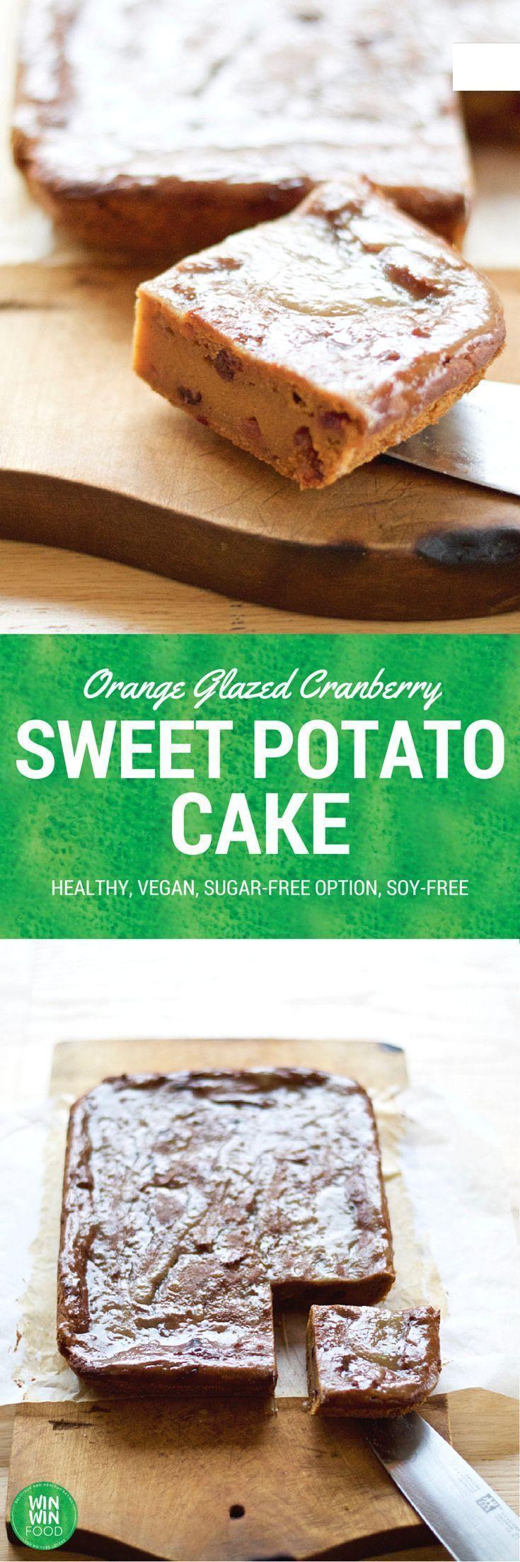Sweet Potato Cake with Cranberries and Orange Glaze | WIN-WINFOOD.com #healthy #vegan #sugarfree option. Make it #glutenfree too with a GF flour mix