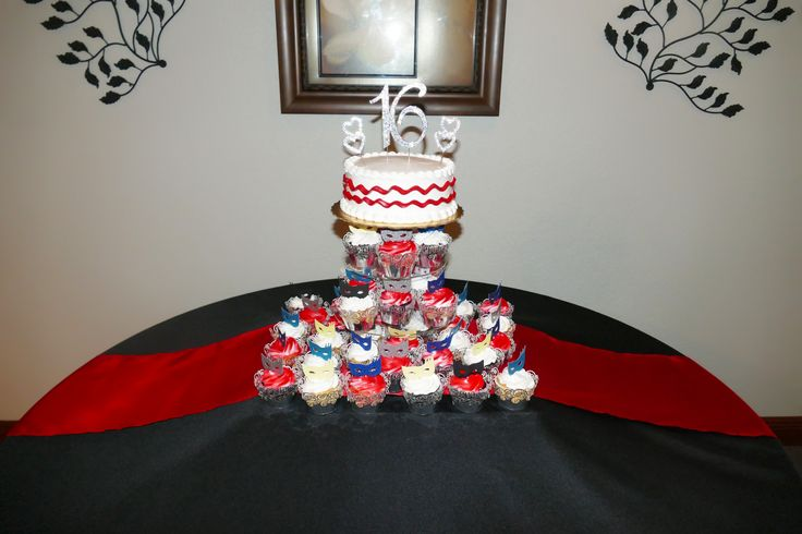 Sweet 16 Masquerade cupcakes with mini masquerade mask toppers
