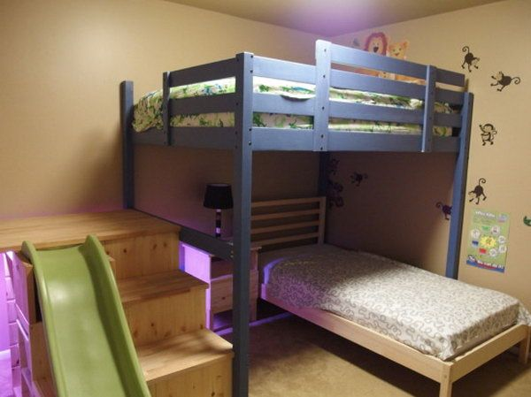 Convert Some IKEA Items to Full over Twin Bed with Stairs, Slide, and Secret Room