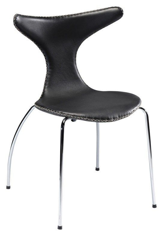 Dolphin Spisebordsstol - Læder - Stilren og enkel spisebordsstol med sæde i sort læder og kromstel