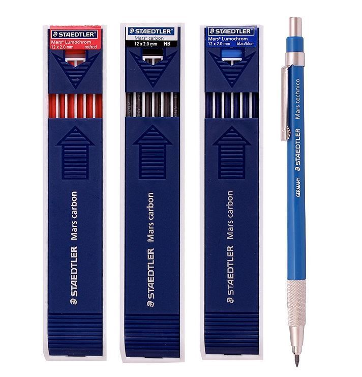 Staedtler Lead Holder 780C+Mars Carbon HB, Red, Blue 2.0mm Mechanical Pencil #STAEDTLER