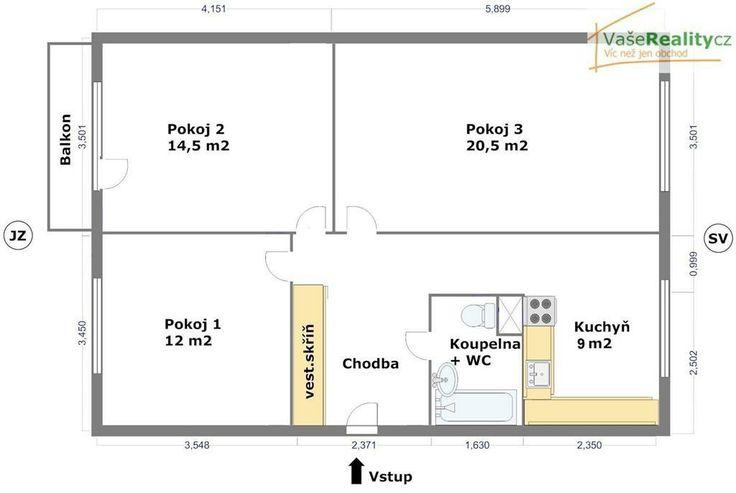 3+1 predelany jadro, wc s koupelnou