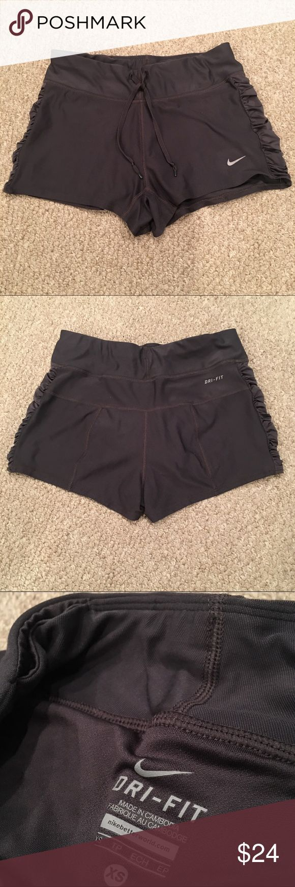 Nike Dri-fit Dark Gray Stay Cool Shorts Nike Dri-Fit Shorts dark Grey. Perfect for running, yoga, crossfire, any activity. They are in great condition except for a small snag on the top left (see last pic) hardly noticeable! Nike Shorts
