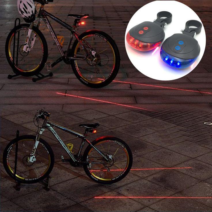 LED Bicicleta Luz Montaña Noche 5 LED + 2 Laser Lámpara de Luz Posterior de la Bicicleta de Advertencia de Seguridad Luz trasera MTB Bike accesorios