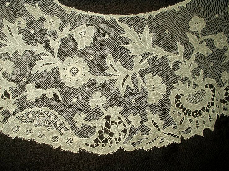 The Gatherings Antique Vintage - Antique Victorian Irish Hand Made Carrickmacross Floral Lace Tulle  Ruffle Collar , $80.00 (http://store.the-gatherings-antique-vintage.net/antique-victorian-irish-hand-made-carrickmacross-floral-lace-tulle-ruffle-collar/)