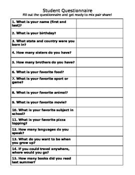 Back to School Activity- Student Questionnaire