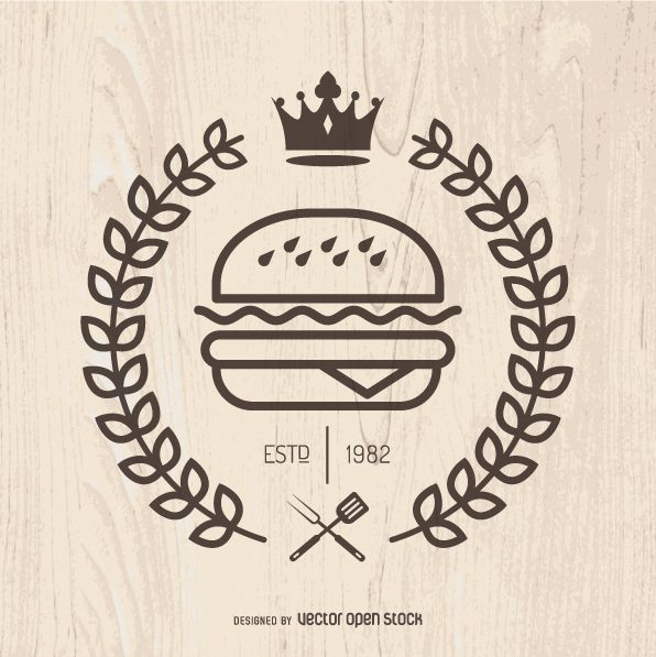 Illustrated burger logo, with crown and laurel wreath. Simple vector with wood background. Perfect for logos, emblems, pins, shirts and more!