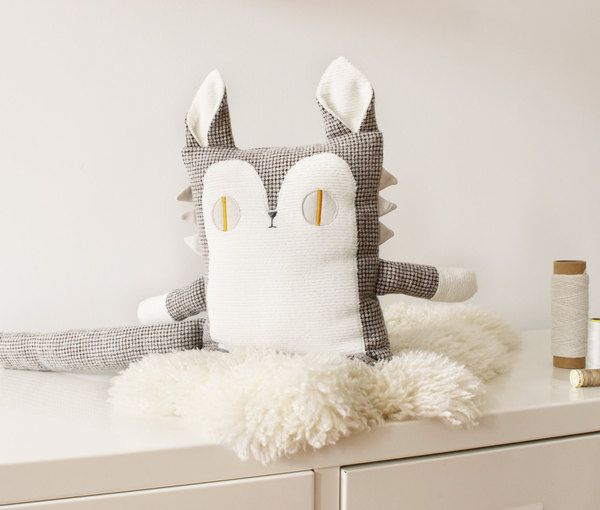 Cat Plush Eco Friendly Upcycled Fabric Accent Cushion Decorative Throw Pillow Ha…