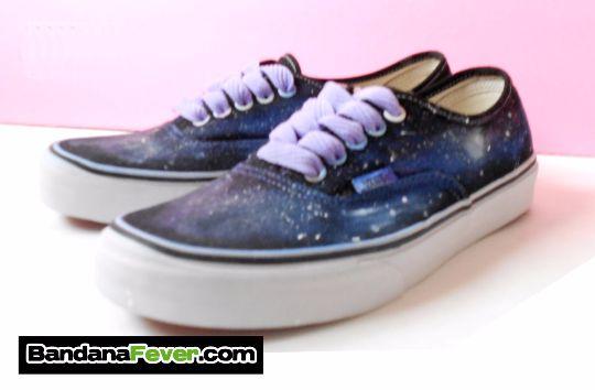 Custom Galaxy Vans Authentic Black, #Vans, #galaxy, #galaxyvans, #skate, #shoes, by Bandana Fever