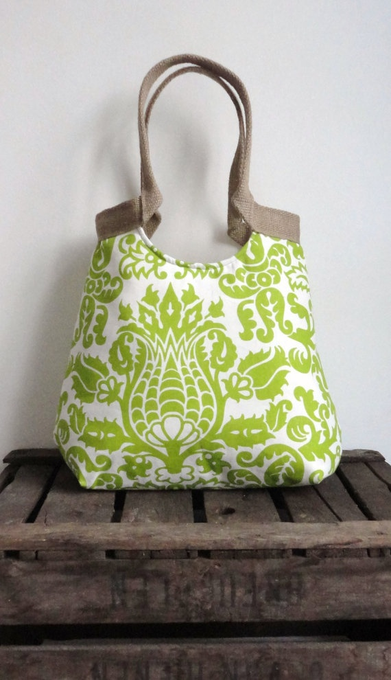 Amsterdam green screen printed carry on hobo bag with burlap