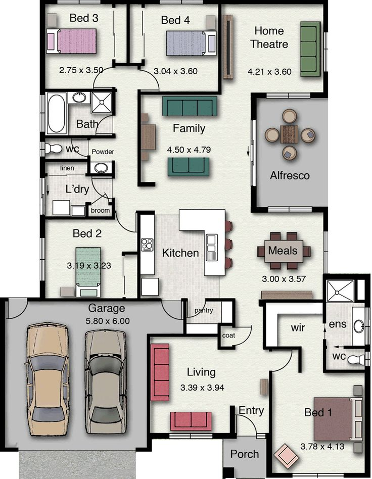 Plano de vivienda con diseño moderno y elegante, con 4 dormitorios-2