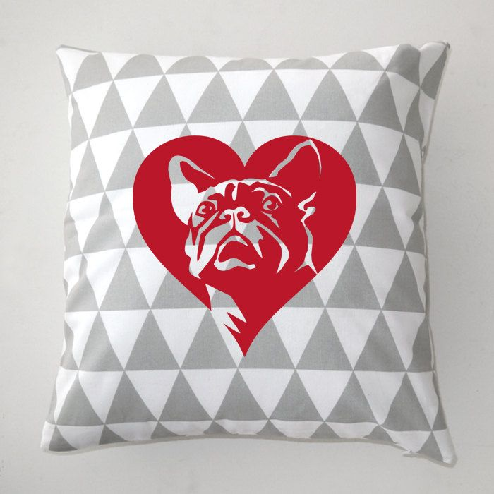 French Bulldog Decorative pillow, cushion In Love by PSIAKREW on Etsy
