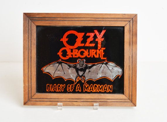 Vintage 80s Ozzy Osbourne Glass Picture Diary Of A Madman 1980s
