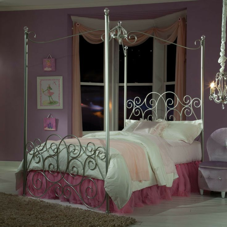 Standard furniture princess canopy bed in silver metal for Affordable furniture alexandria louisiana