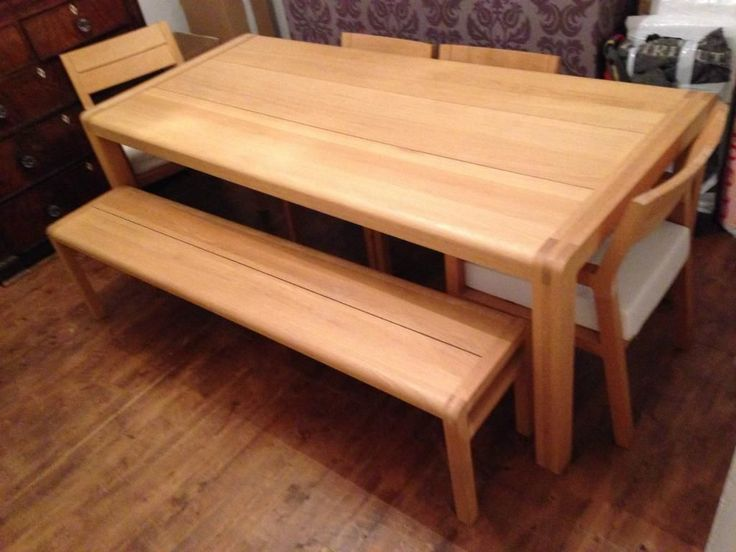 Habitat Radius Large Oak Dining Table Bench And Chairs
