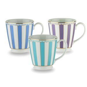 Carnivale Mug Set of 3 only $38.00 Carnivale is a stunning new range of fine white porcelain tea ware. The combination of colour and wonderful French design ethic is further enhanced by 22K gold lining, creating a look of elegant sophistication. Set of 3 mugs - Dark Blue, Lavender, and Light Blue. Mugs are in White giftbox.  Fine White China
