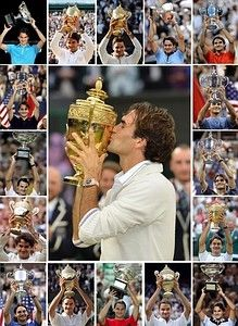 ROGER FEDERER ... He holds the records for: most Grand Slam men's titles (17), most Grand Slam finals appearances (25) and consecutive Grand Slam quarterfinal appearances (36). He's also one of 3 men to win the Career Grand Slam on 3 different surfaces and shares the record for most titles at Wimbledon (7), US Open (5) and Australian Open (4)... and actively he continues counting his achievements.