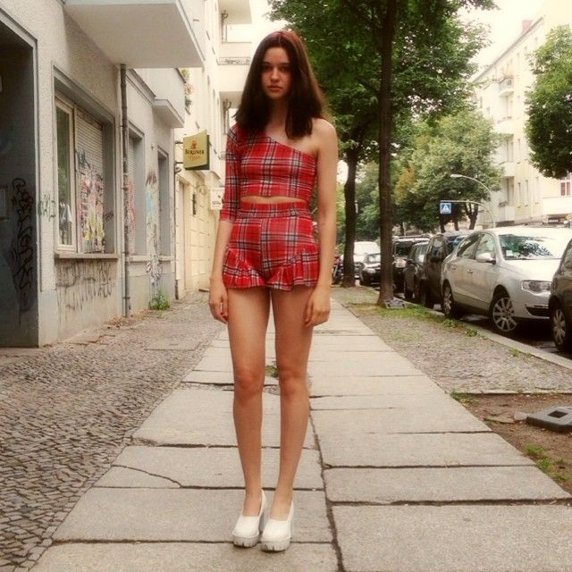 WE LOVE LOVE LOVE @anouschkamarlene in our tartan outfit. hottest girl alive wearing our stuff yeAhhhh xxx