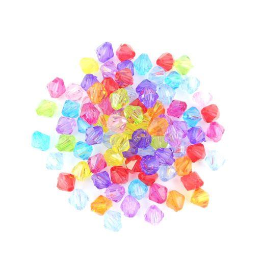 x200 Perles à facettes multicolores acrylique 6x6mm : Perles Synthétiques par perlio