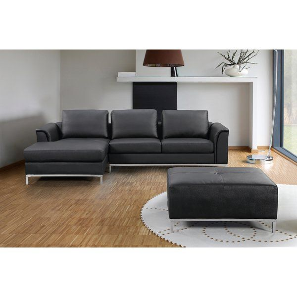 Catlett Leather Sectional with Ottoman | Leather sectional ...