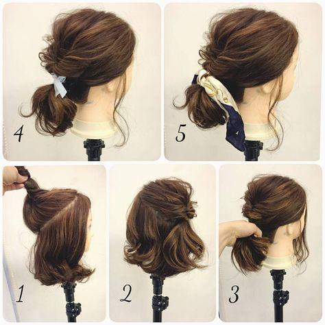 いいね!441件、コメント5件 ― 黒石 純さん(@dangomusi_kuro_jun)のInstagramアカウント: 「ミディアム&ロブのヘアアレンジ  1.  トップのこれくらいを  2.  くるりんぱしてふんわりほぐす。  3.  くるりんぱしたゴムの位置で全部まとめて結ぶ。  4.  リボンつけたり  5.…」