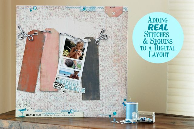 Adding Stitches and Sequins to a Digital Scrapbook Page by Betsy Sammarco #snapclicksupply #carinagardner #hybridscrapbooking