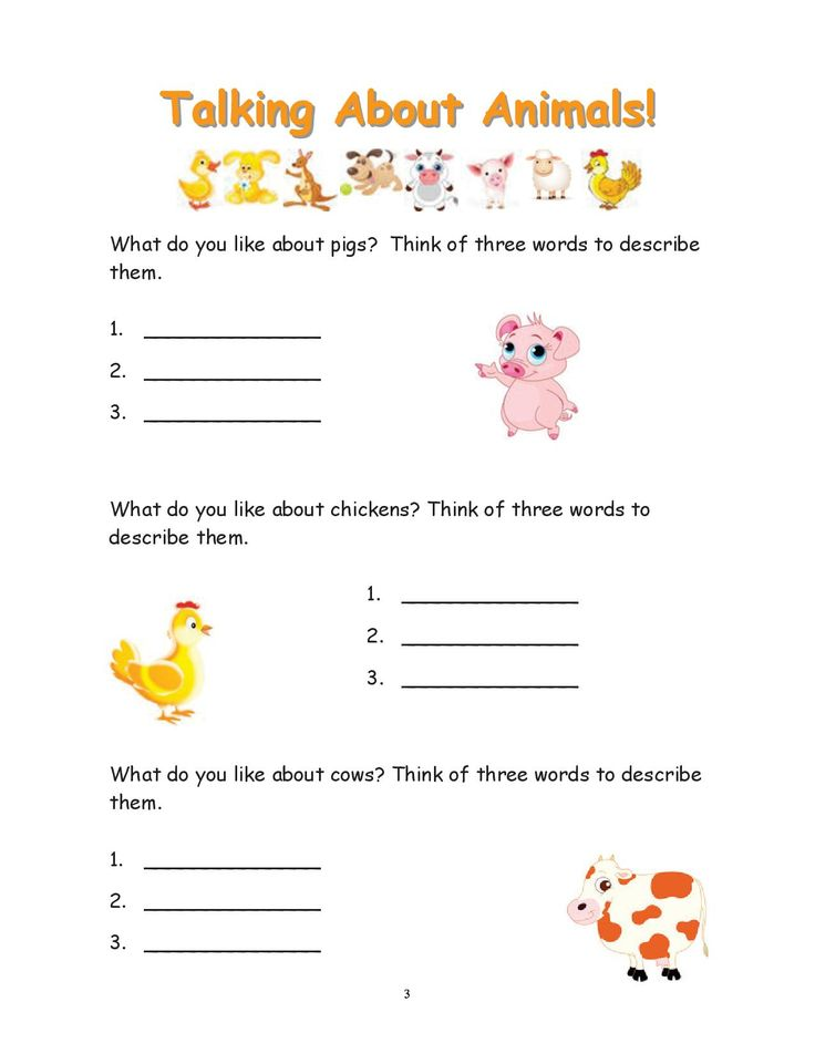 This worksheet encourages students to describe three things they like about pigs, chickens and cows. Submitted by Gypsy Wulff from the I Love Animals Activity Book 2012. To purchase the full book visit:  http://www.turningpointsincompassion.info/buy-books1/activity-books