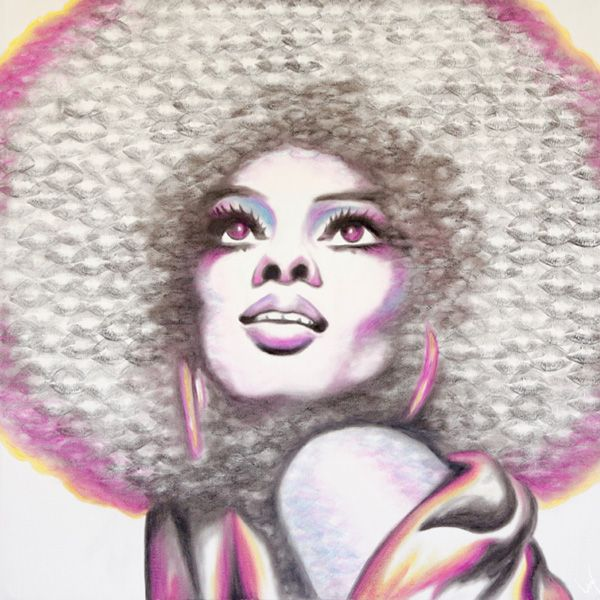 Diana Ross created with lipstick and kiss prints!