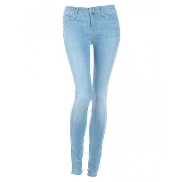 Hudson Jeans Light Wash Skinny Mid-Rise 'Nico' Jean (1301455 PYG) ❤ liked on Polyvore featuring jeans, pants, bottoms, pantalones, light wash, blue skinny jeans, stretch skinny jeans, super stretchy skinny jeans, slim fit jeans and blue jeans