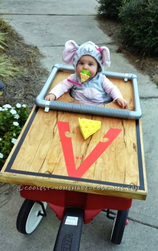 DIY Mousetrap Baby Costume...these are the BEST Homemade Halloween Costume Ideas for Kids! #halloweencostumekids #halloweencoustumescouples