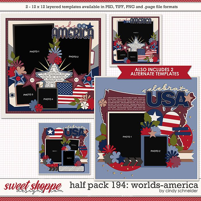 Cindy's Layered Templates - Half Pack 194: Worlds-America by Cindy Schneider
