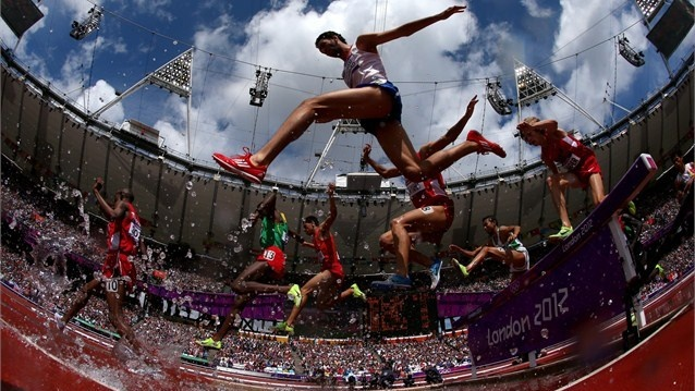 Mahiedine Mekhissi-Benabbad of France in the Men's 3000m Steeplechase Heats on Day 7 of the London 2012 Olympic Games at Olympic Stadium.