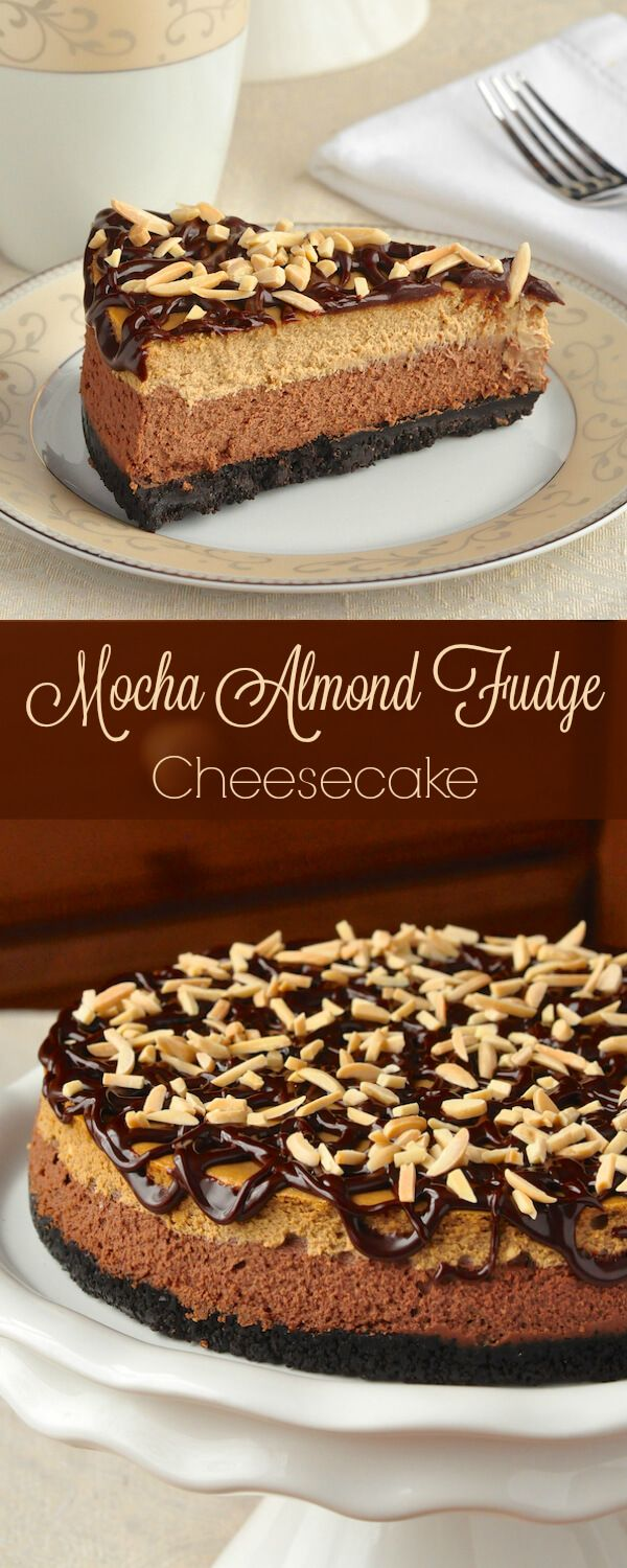 Mocha Almond Fudge Cheesecake - this double layer cheesecake is a luscious salute to one of the most popular ice cream flavours ever. So incredibly delicious!