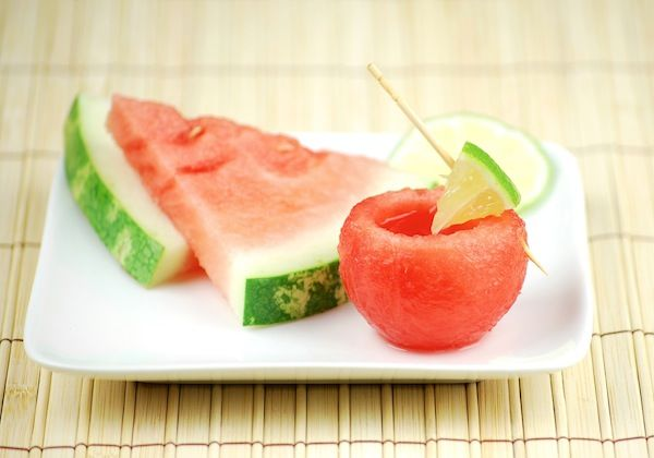 Watermelon shooters with watermelon margaritas. - - - Take your watermelon shot and then eat the shot glass