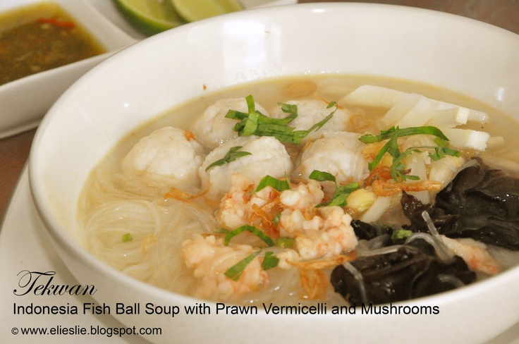 Tekwan - Indonesia Fish Ball Soup with Prawn Vermicelli and Mushrooms