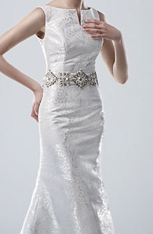 Modest wedding dress. Modeca wedding gown.   Style No. Madison  Sabrina Neckline with slight v, silver floral embroidered pattern and precious stone jeweled and embroidered belt.