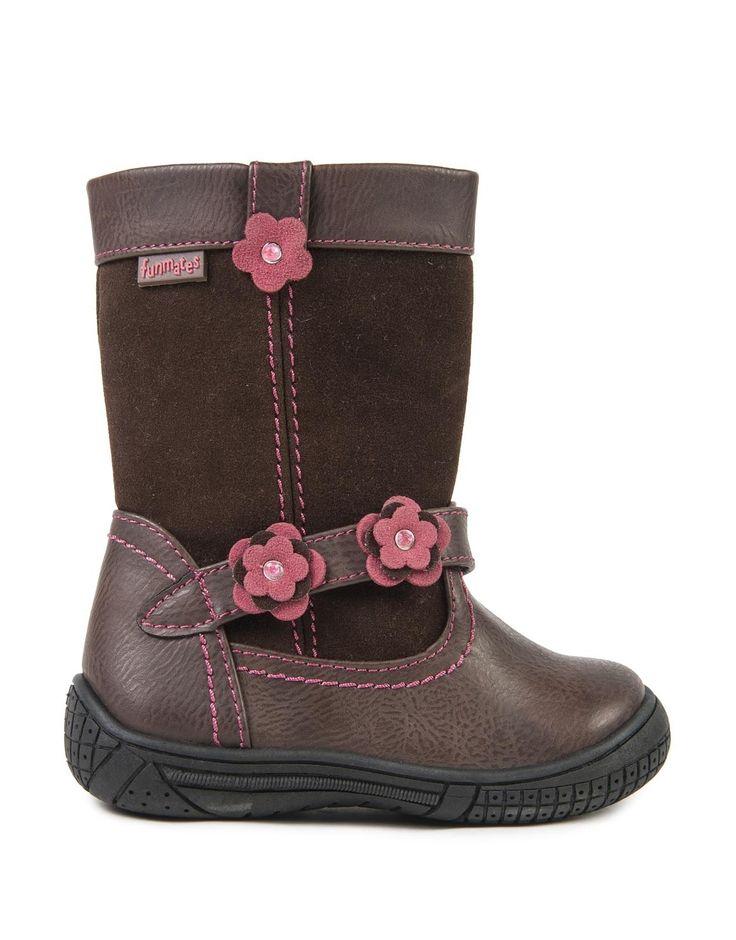 Flower Trim Suede Boots