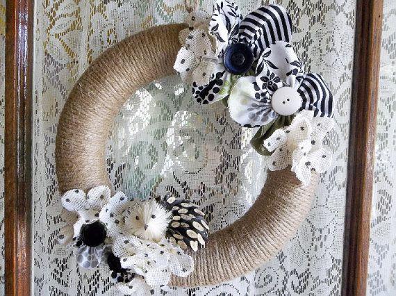 "Twine Wreath, Jute Wreath, Rustic Wreath with Hedgehog, Handmade Cloth, Burlap Flower Accents, Hand Wrapped Jute 10"" Wreath, READY To SHIP"