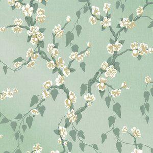 Behang Little Greene Sakura- Archive Trails  Het bloemen behang Little Greene Sakura heeft takken met bloemen die omhoog klimmen.  Behangpapier Little Greene Sakura is in 6 bijzondere kleurstelli...