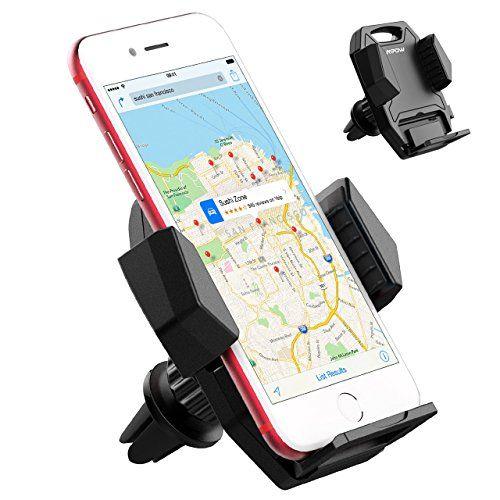 Support téléphone voiture Auto Mpow Universel à Angle Réglable, Fixation à la grille aération pour iPhone 7 7Plus 6s 6s Plus 6 6 Plus,…
