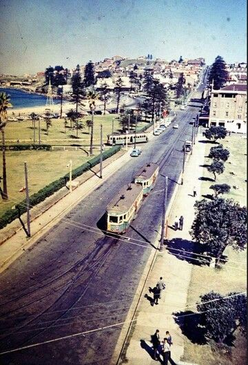 View along Arden Street, Coogee Beach in Sydney, showing the single Tram track and terminus loop in 1960's. v@e