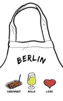 Kochschürze ''Berlin: Currywurst - Molle - Liebe''-die stadtmeister -  Geschenke mit Lokalkolorit & City-Souvenirs sowie dialektfreie und überregionale Geschenkideen zu jedem Anlass